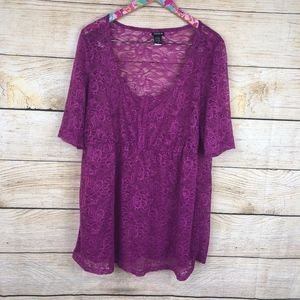 Torrid purple lace babydoll 3/4 sleeve top 2X N25